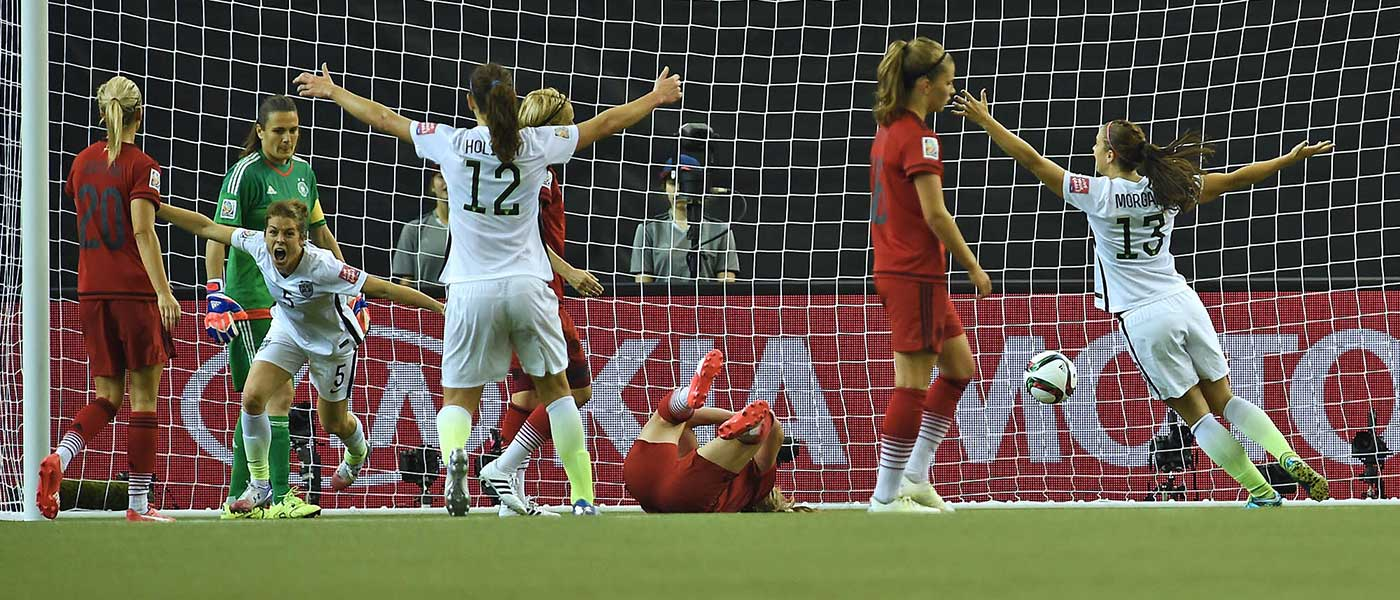 The U.S. celebrates Kelley O'Hara's goal against Germany in a Wormen's World Cup semifinal.