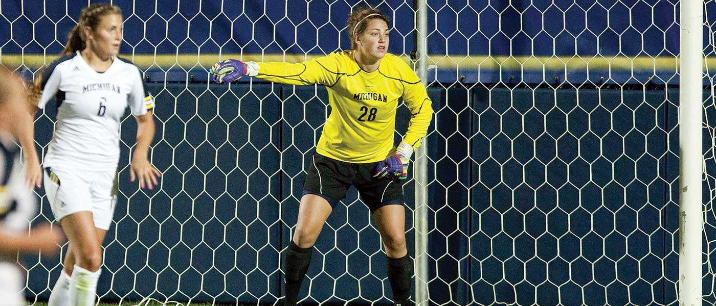 Haley Kopmeyer playing for Michigan.