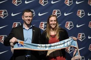 Sky Blue FC head Coach Christy Holly and Caroline Casey