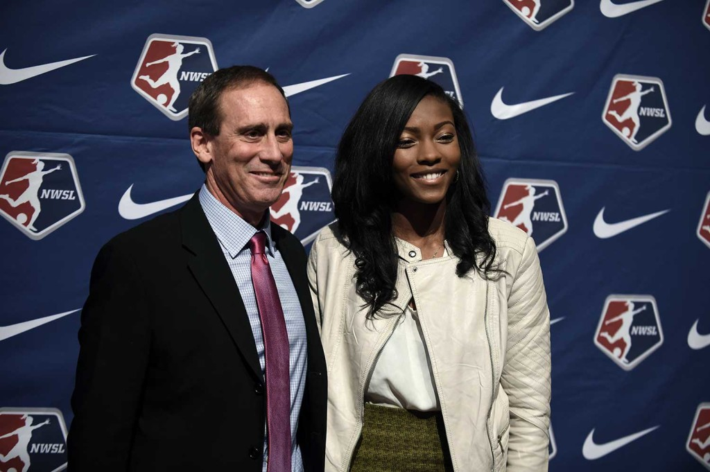 Jim Gabarra and Cheyna Williams at the 2016 NWSL College Draft