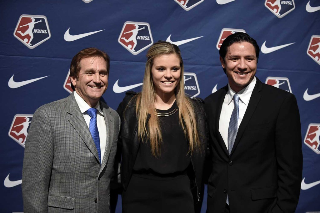 Randy Waldrum and Rachel Daly at the 2016 NWSL College Draft.