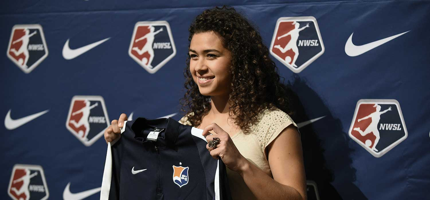Raquel Rodriguez at the 2016 NWSL College Draft.