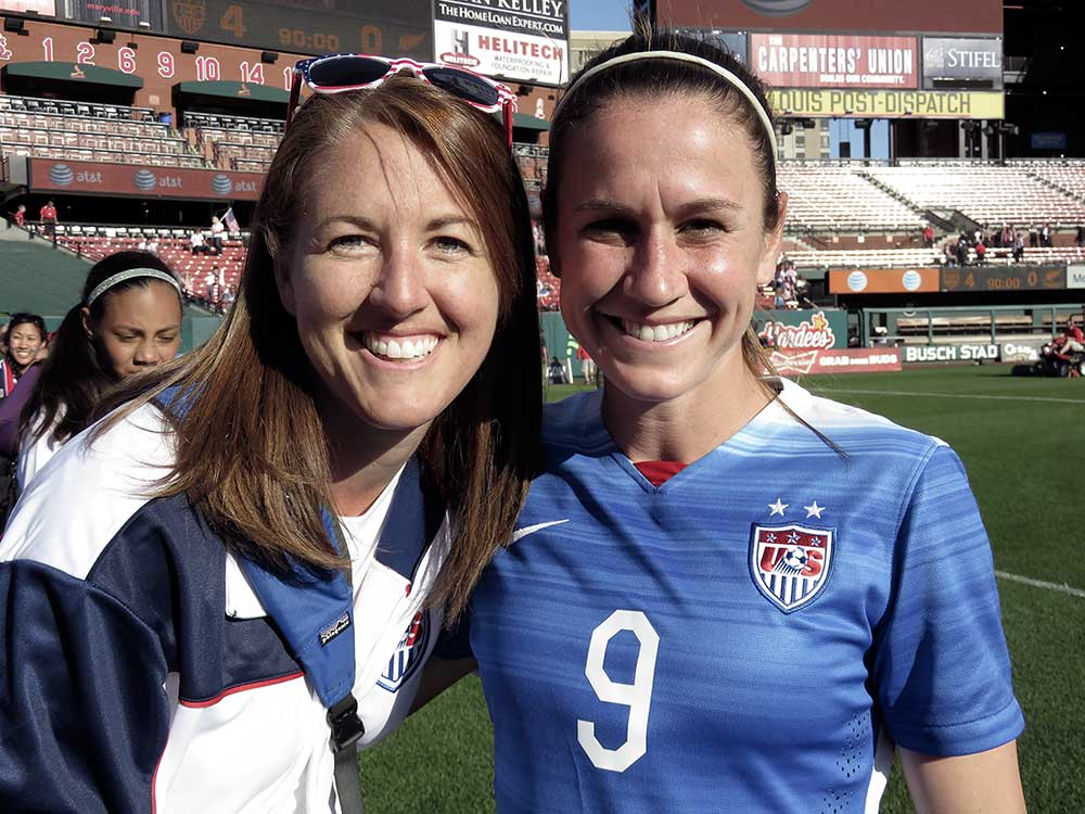 Kick For The Cure founder Andrea Barnett and Heather O'Reilly