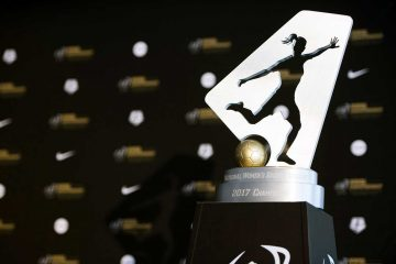 The NWSL trophy at media day in Orlando. (Monica Simoes)