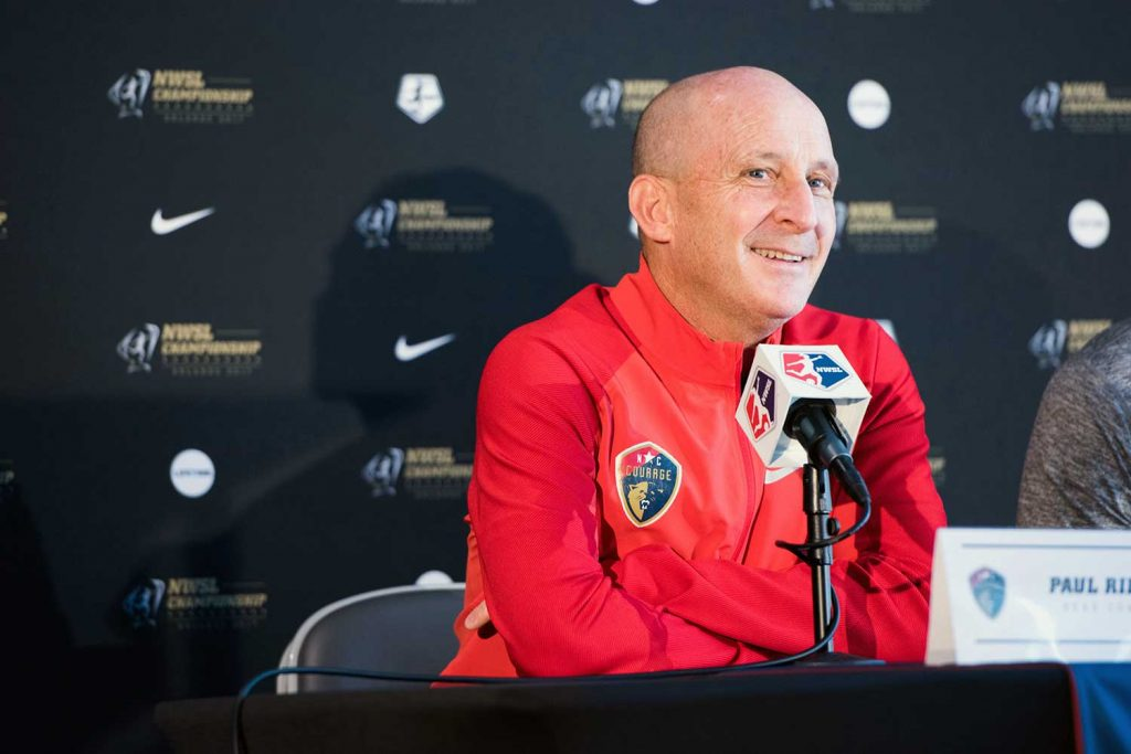 Paul Riley, head coach of the North Carolina Courage, during 2017 NWSL Media Day. (Monica Simoes)