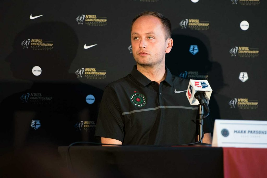 Mark Parsons, head coach of the Portland Thorns FC, during 2017 NWSL Media Day. (Monica Simoes)