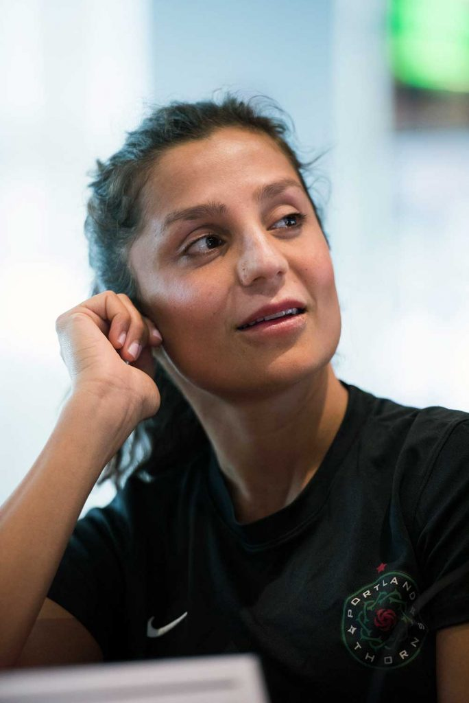 Nadia Nadim during NWSL Media Day. (Monica Simoes)