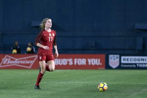 Tierna Davidson got her first start and made her senior debut for the U.S. on January 21, 2018, against Denmark. For good measure, Davidson assisted on Ertz's goal in the first half. (Manette Gonzales)
