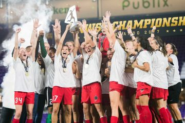 The Portland Thorns celebrating their 2017 NWSL Championship. (Monica Simoes)