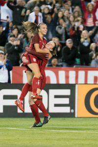 Mallory Pugh and Andi Sullivan celebrate a goal. (Manette Gonzales)