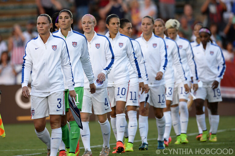 The U.S. Women's National Team lining up for introductions and national anthems before the friendly between the United States and Switzerland on August 20, 2014, in Cary, N.C.