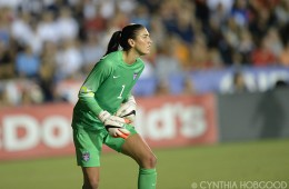 Hope Solo during the friendly between the United States and Switzerland on August 20, 2014, in Cary, N.C.