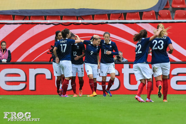 France celebrates after scoring against Germany on October 25, 2014, in Offenbach, Germany.