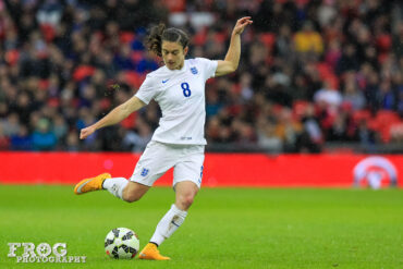 England's Karen Carney on November 23, 2014, at Wembley Stadium.