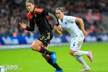 Gemany's Annike Krahn and England's Fara Williams at Wembley Stadium on November 23, 2014.