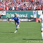 U.S. defender Julie Johnston clears the ball against New Zealand.