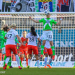 Wolfsburg's Alex Popp during the first leg of one of the 2015 UEFA Women's Champions League semifinals.