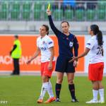 Jessica Houara (PSG) gets a yellow card.