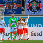 PSG celebrates its second goal during first leg of one semifinal of the 2015 UEFA Women's Champions League.