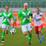Nilla Fischer (WOB) during one of the semifinals of the 2015 UEFA Women's Champions League.