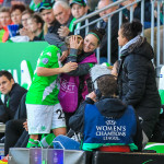 Martina Müller (WOB) reacts as Selina Wagner comforts her after being subbed out. It was Müller last home game with VfL Wolfsburg after announcing her retirement in April 2015.
