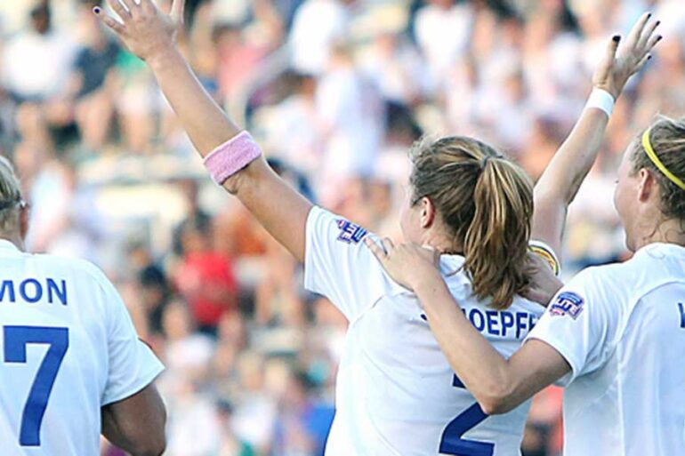 Kyah Simon, Katie Schoepfer, and Julie King of the Boston Breakers.