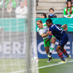 Anna Bläase (WOB) and Genoveva Añonma (Potsdam) vie for the ball during the final of the 2015 Frauen DFB-Pokal.