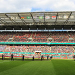 The crowd of 19,204 at the final of the 2015 DFB-Pokal final at RheinEnergieStadion in Cologne, Germany.