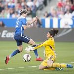 Megan Rapinoe avoids Cecilia Santiago during the USA-Mexico international friendly on May 17, 2015.