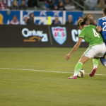 Alina Garcíamendez and Abby Wambach battle for the ball during the USA-Mexico friendly.