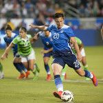 Abby Wambach takes the penalty.