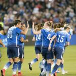 The U.S. Women's Nationa Team celebrates after scoring.