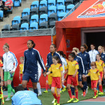 Teams walking out before the match in Moncton.