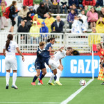 Group F action between England and France at the 2015 Women's World Cup.