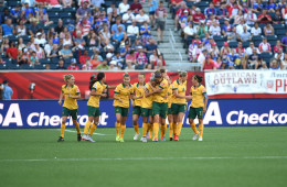 Australia celebrates Kyah Simon's second-half goal in a Group D match against Nigeria.