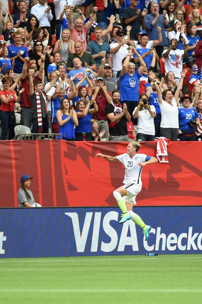 USA's Abby Wambach celebrates after scoring.