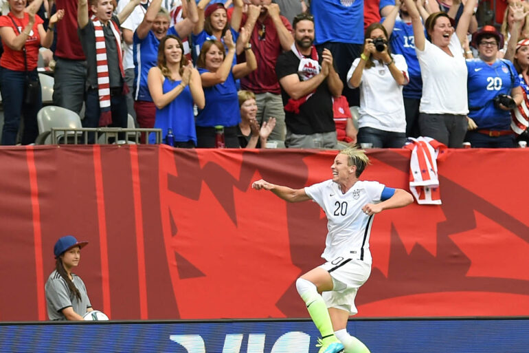 USA's Abby Wambach celebrates after scoring.