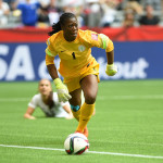 Nigeria's Precious Dede just after denying USA's Alex Morgan.