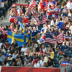 Supporters of Sweden and the USA.
