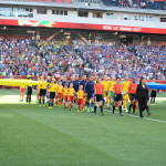USA and Sweden walk out before the match.