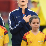 USA's Julie Johnston during the national anthem before a Group D match against Sweden.