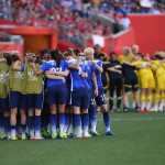 USA and Sweden squads before a Group D match during the 2015 FIFA Women's World Cup in Winnipeg, Manitoba.
