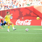 USA's Carli Lloyd and Sweden's Lina Nilsson.