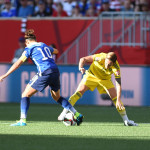 USA's Carli Lloyd and Sweden's Sweden's Therese Sjögran.