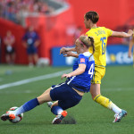 USA's Becky Sauerbrunn and Sweden's Therese Sjögran.