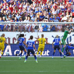 Sweden's Hedvig Lindahl makes a save.