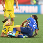 Sweden's Lina Nilsson and USA's Sydney Leroux vying for the ball.
