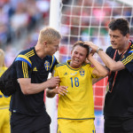 Sweden's Jessica Samuelsson after a collision with USA's Carli Lloyd.