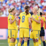Members of the Swedish team during the match.