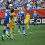 Action during the Group D match of the 2015 FIFA Women's World Cup in Canada between the United States and Sweden.